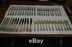 Grande Baroque By Wallace Sterling Silver Flatware Set For 12 Service 50 Pieces