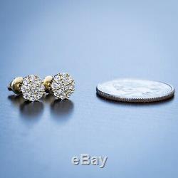 Hip Hop Round Mens 14K Gold 925 Sterling Silver Cluster Diamond Stud Earrings