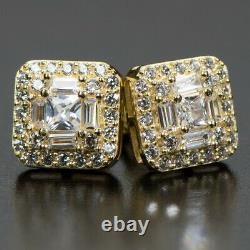 Hip Hop Square Iced Baguette Gold Screw Back Mens 925 Sterling Silver Earrings