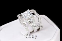 His & Hers 14k White Gold 925 Sterling Silver Wedding Band Engagement Ring Set