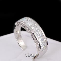 His & Hers White Gold 925 Sterling Silver Diamond Engagement Wedding Ring Set