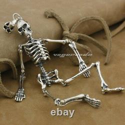 Huge Heavy 925 Sterling Silver Skull Skeleton Mens Biker Gothic Pendant 9L015D