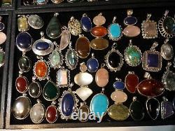 I 100 Gram Wholesale Lot Resale Sterling Silver 925 Gemstone Pendants No Scrap