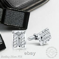Jesus Real Solid Sterling Silver. 925 Cubic Zirconia Cufflinks w Gift Box