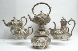 Kirk & Sons Sterling Silver Repousse' 6 Piece Tea Set #103