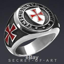 Knights Templar Masonic Freimaurer Silver 925 Sterling Ring Templi Signvm