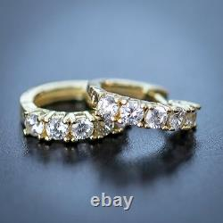 Lab Simulated Diamond Solitaire 14k Gold 925 Sterling Silver Men's Hoop Earrings