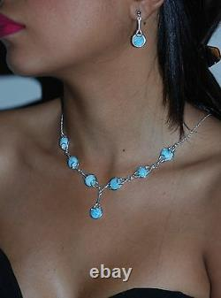 Larimar Necklace And Earrings Set. 10mm Cabochon. 925 Sterling Silver