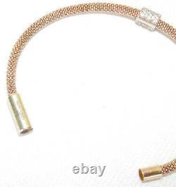 Links Of London Rose Gold Mesh Sterling Silver Stardust Cz Bead Bracelet Bangle