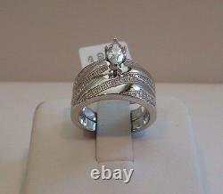 MARQUISE CENTER WEDDING RING & BAND SET With LAB DIAMONDS/ 925 STERLING SILVER