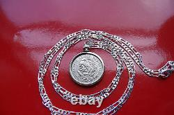 MEXICAN SILVER Eagle & Snake Coin Pendant 28.925 Sterling Silver Chain