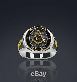 Masonic Ring Master Mason Silver 925 Sterling with 24K-Gold-Plated Parts