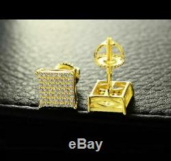 Men 10k Yellow Gold Over Sterling Silver Diamond Square Screw Back Stud Earrings
