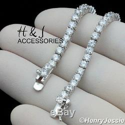 Men 925 Sterling Silver 17-28x3mm Bling 1 Row Tennis Chain Necklacesn10