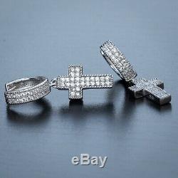 Men 925 Sterling Silver Top Quality Cz Hanging Dangle Cross Hoop Earrings