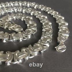 Men Boy King Flat Byzantine Chain Necklaces 7mm 925 Sterling Silver 24Inch 53GR