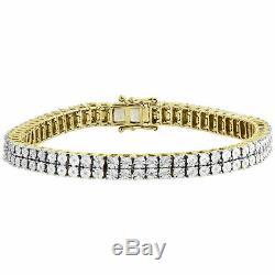 Men Diamond 2 Row Tennis Link Bracelet 10k Yellow Gold Over Sterling Silver 8.5