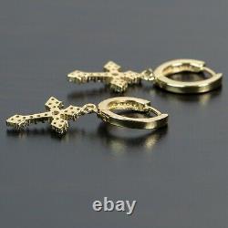 Men Iced 14K Gold Sterling Silver Dangle Hanging Cross Drop Huggie Hoop Earrings
