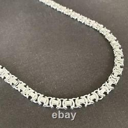 Men King Flat Byzantine Chain Necklaces 925 Sterling Silver 55GR 26Inch Handmade