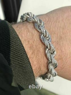 Men's 10mm Rope Bracelet Real Solid 925 Sterling Silver 20ct Diamonds Super ICY