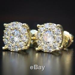 Men's 14K Gold Hip Hop Iced Round Cut Cluster 925 Sterling Silver Stud Earrings