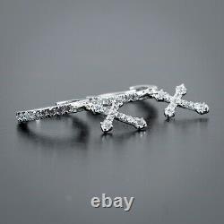 Men's 2pc White Gold 925 Sterling Silver Dangle Cross Drop Huggie Hoop Earrings