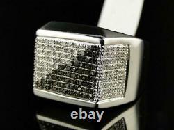 Men's 925 Sterling Silver 2.24 Ct White & Black Round Diamond Pinky Love Ring