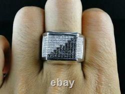 Men's 925 Sterling Silver 2.25 Ct White & Black Round Diamond Pinky Love Ring