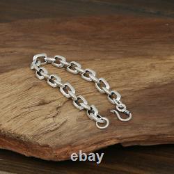 Men's 925 Sterling Silver Bracelet Link Chain Rectangle Beveled Jewelry