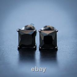 Men's Black Onyx Black Diamond Sterling Silver Solitaire Cut Stud Earrings