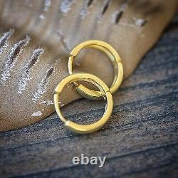 Men's Gold Small 10mm Solid 925 Sterling Silver Huggie Hoop Earrings