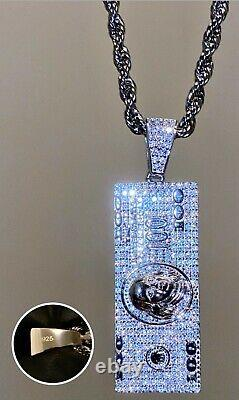 Men's Italy 925 Sterling Silver 14k Stamp Dollar Bill Pendant Rope Chain 24