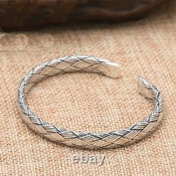 Men's Real 925 Sterling Silver Cuff Bracelet Braided Hemp Rope Jewelry
