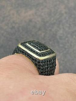 Men's Real Solid 925 Sterling Silver 14k Gold Over Ring With Black Diamond 2.1CT