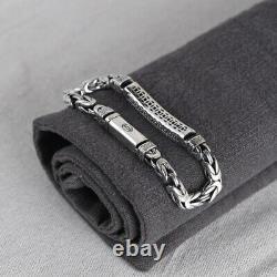 Men's Real Solid 925 Sterling Silver Bracelet Pattern Braided Stripe Link 7.9