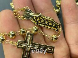 Men's Rosary Beads Necklace 14k Gold Over Real 925 Sterling Silver Rosario Jesus