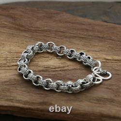 Men's Solid 925 Sterling Silver Bracelet Link Chain Stripe Loop Jewelry 8.5