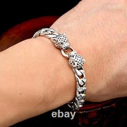 Men's Solid 925 Sterling Silver Bracelet Link Leopard Head Chain Jewelry