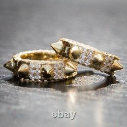 Mens 14K Gold 925 Sterling Silver Fully Iced Cz Small Spike Huggie Hoop Earrings