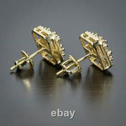 Mens 14K Gold Iced Cz Baguette Sterling Silver Square Stud Hip Hop Earrings