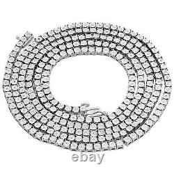 Mens 1 Row Necklace Genuine Diamond Link Choker Chain 18 Sterling Silver 1/2 CT
