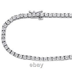 Mens 1 Row Necklace Genuine Diamond Link Choker Chain 18 to 30 Sterling Silver