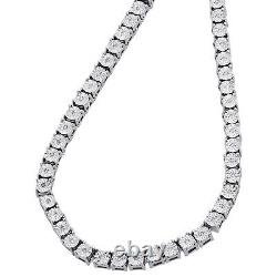 Mens 1 Row Necklace Genuine Diamond Link Choker Chain 20 Sterling Silver 0.60 C