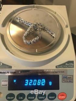 Mens 35ct Lab Diamond Single Row Tennis Bracelet Solid 925 Sterling Silver 7mm