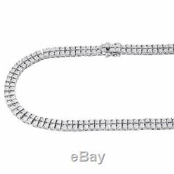 Mens 925 Sterling Silver 2 Row White Diamond Chain Necklace 2 ct. 38 Bezel Set