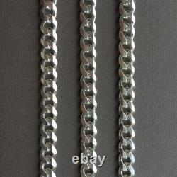 Mens Curb Cuban Link Chain Necklace 925 Sterling Silver Handmade 7mm 24Inch 51gr