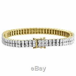 Mens Diamond 2 Row Tennis Link Bracelet 10k Yellow Gold Over 925 Sterling Silver