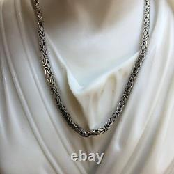 Mens King Byzantine Bali Chain Necklace 925 Sterling Silver 21GR 22Inch 2.5mm