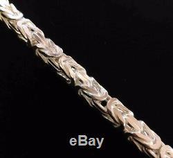 Mens King Byzantine Box Chain Bracelet 8mm 76GR 9.05 Inch 925 Sterling Silver