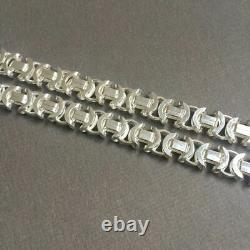 Mens King Flat Byzantine Chain Necklaces 7.5mm 925 Sterling Silver 55GR 26Inch